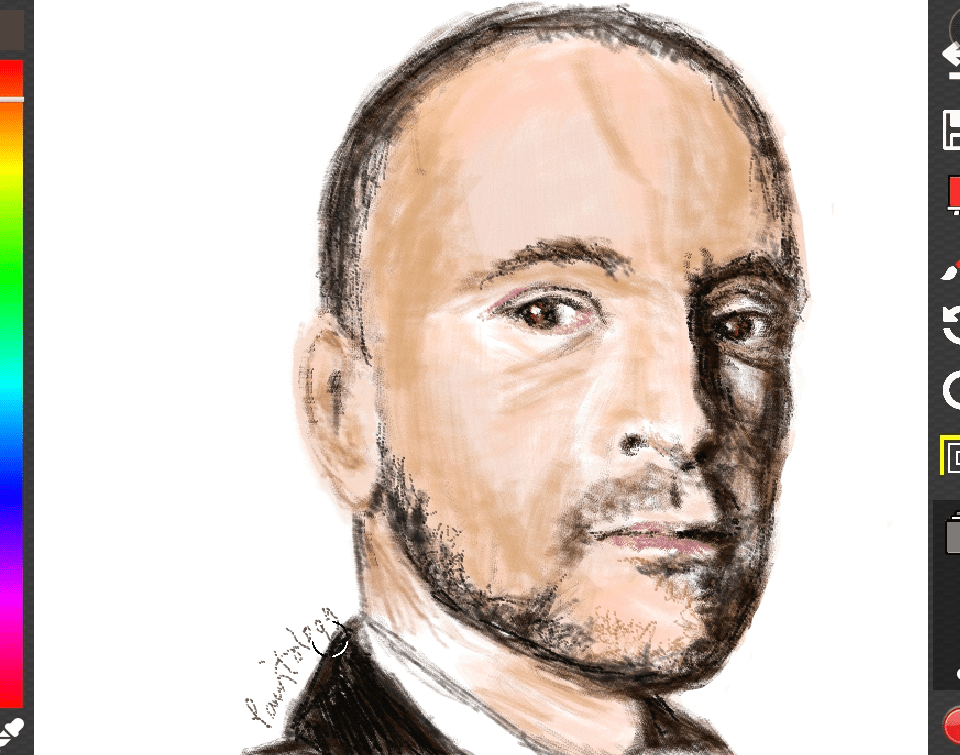 A portrait drawing of Derren Brown, the celebrity mentalist, illusionist…