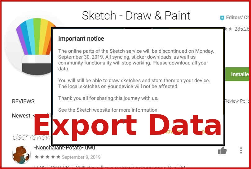 Sony Sketch app – how to Export data