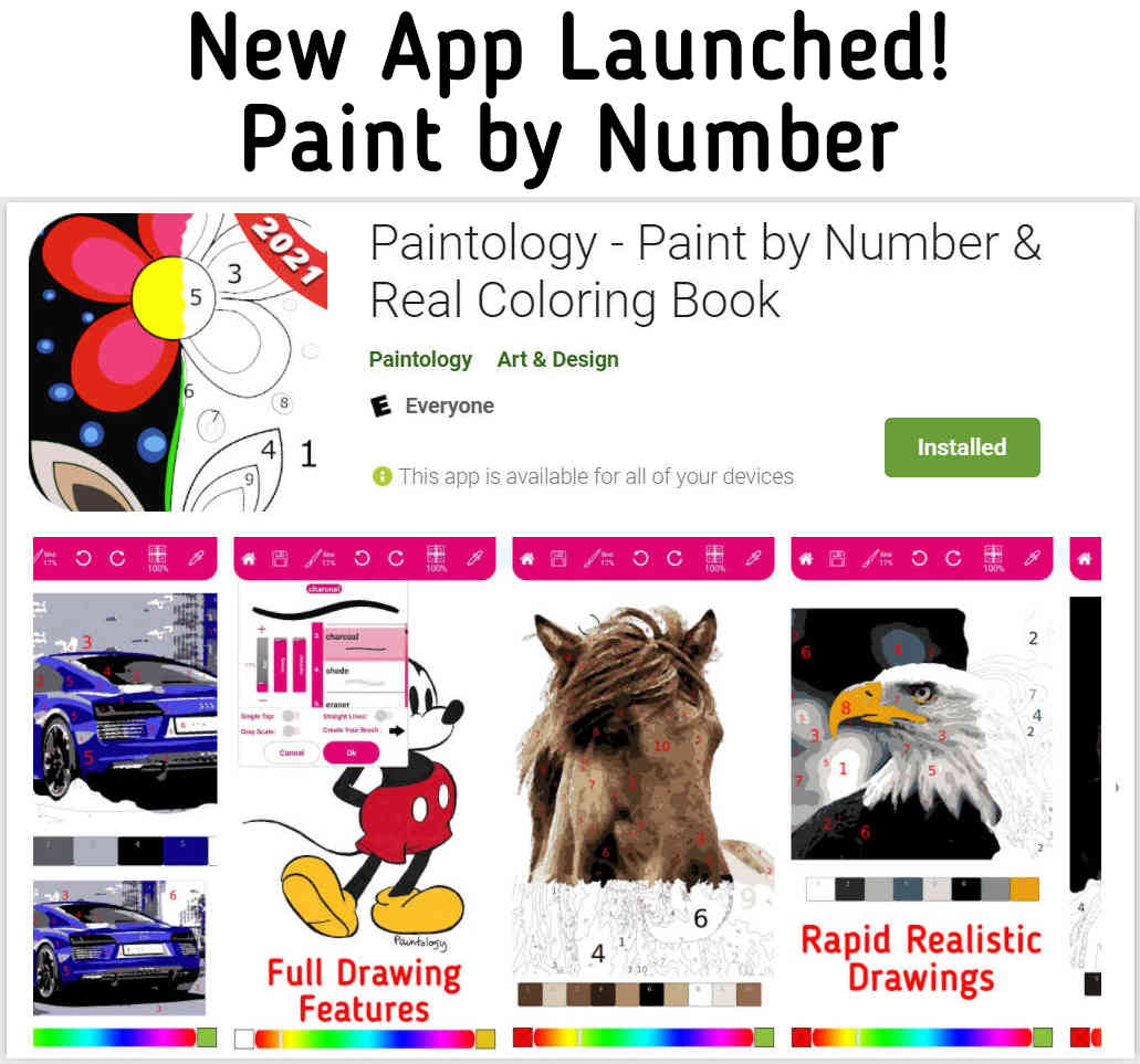 Paintology Paint by Number || newly launched app available on the Google play store