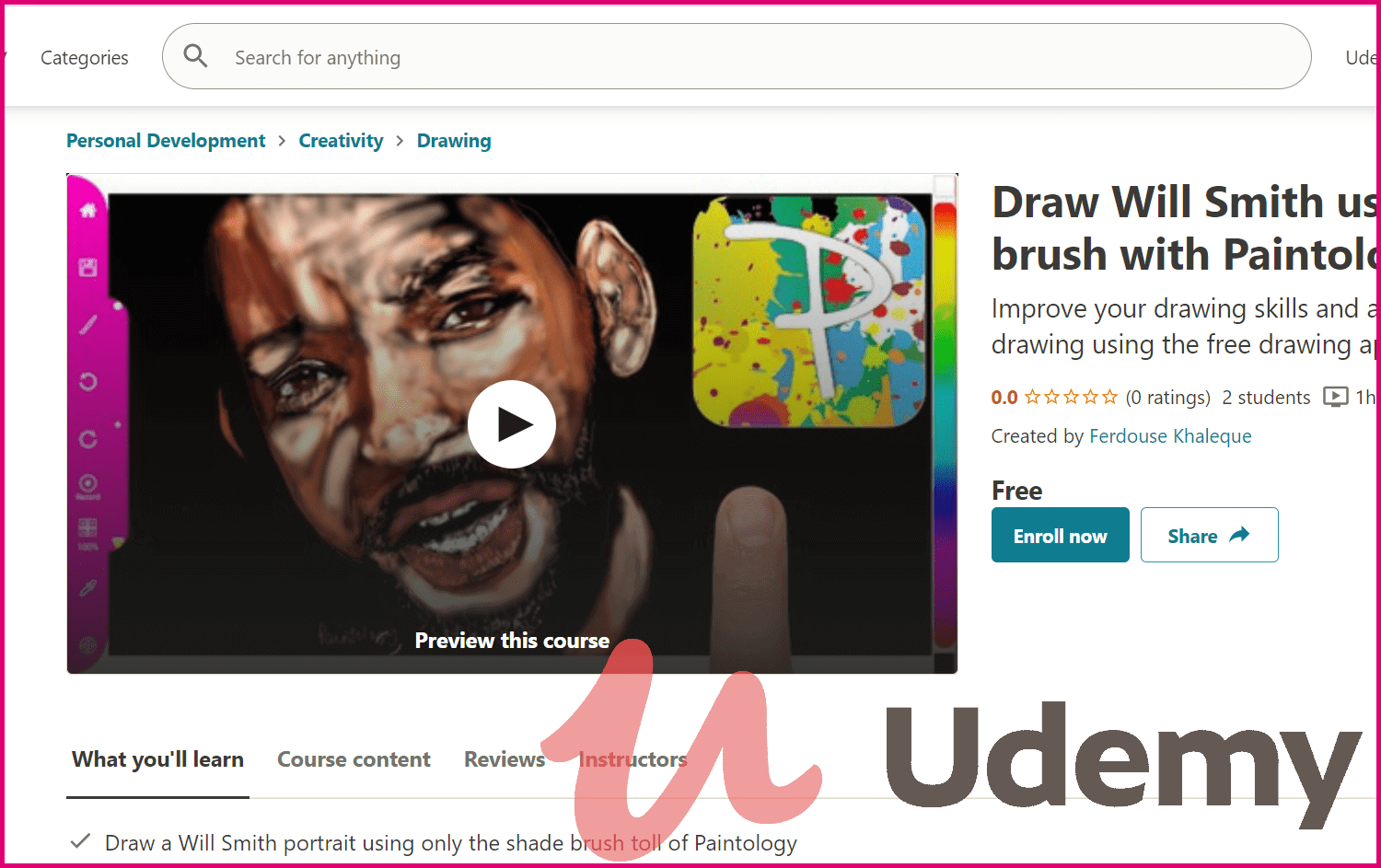 Udemy course to Will Smith