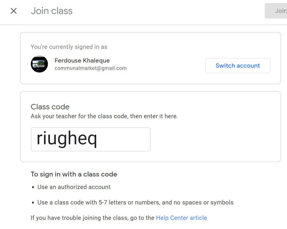 join google classroom - enter code
