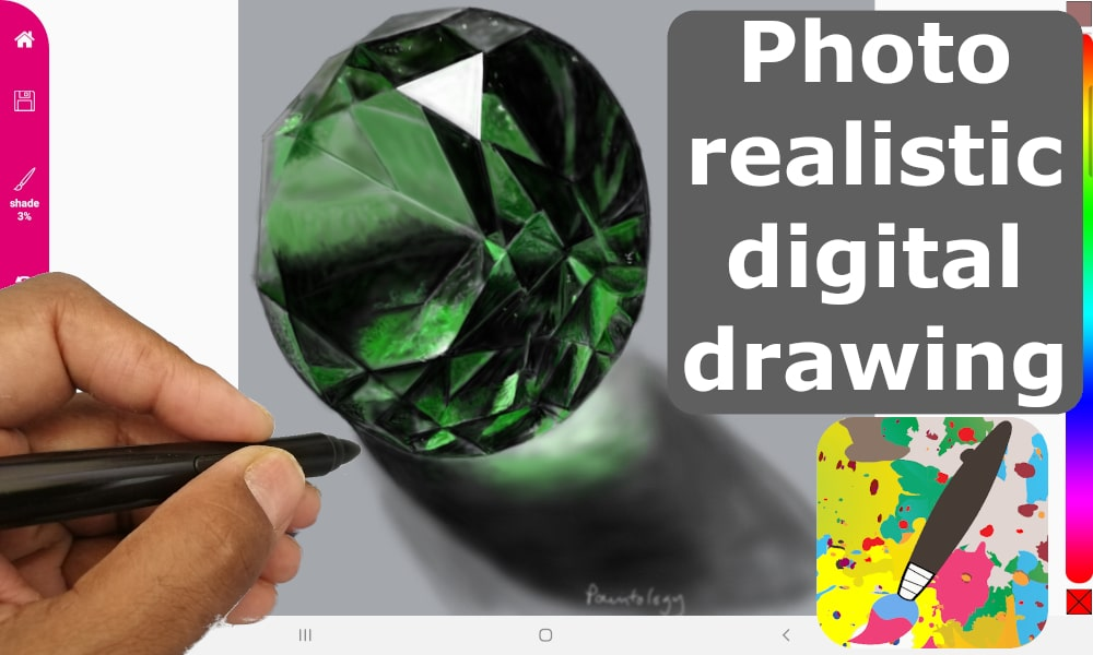 emerald photo realistic drawing featured
