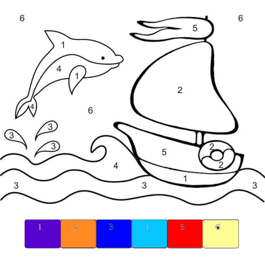PbyNo - dolphin in the sea - template