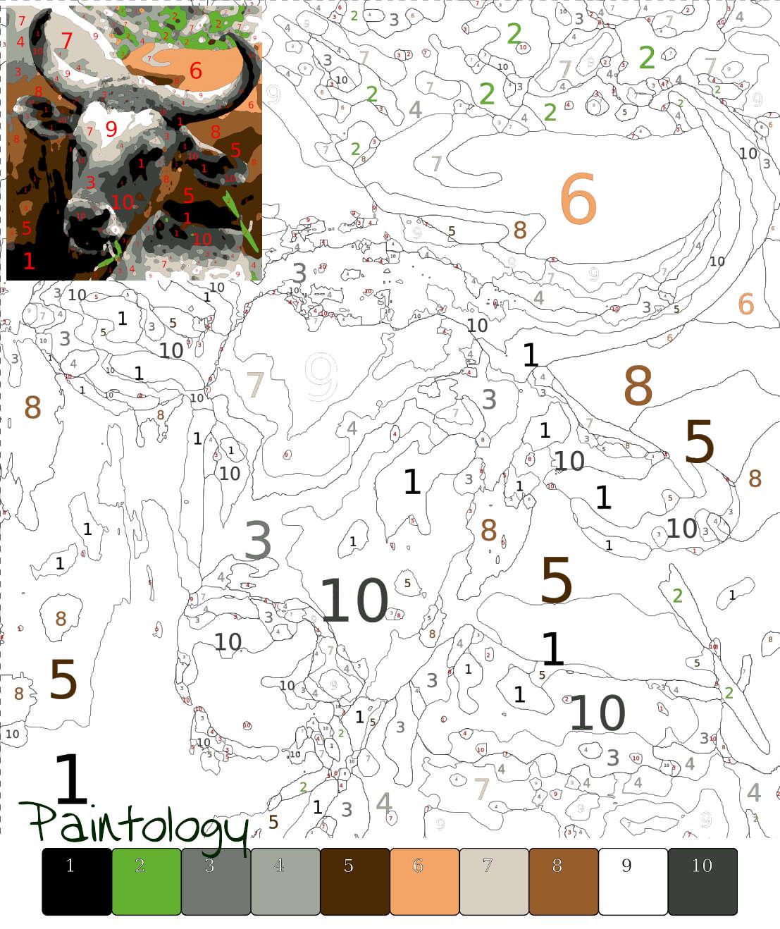 PbyNo - color a bull - template